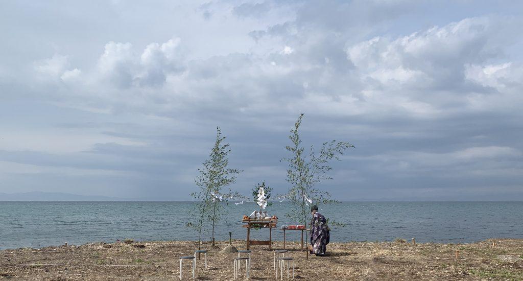 地鎮祭:海を一望するオーシャンビューの豪邸を建設予定。
